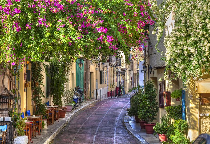 Der schöne Athener Stadtteil Plaka eignet sich auch hervorragend für einen kulinarischen Rundgang.