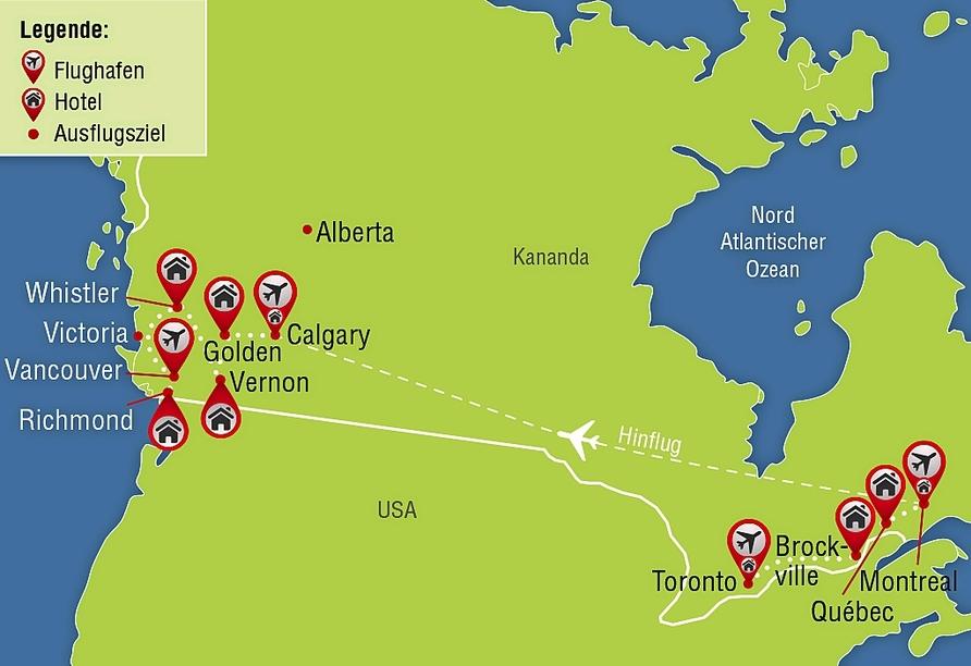 Kanadas Highlights von Ost nach West, Reisezielkarte