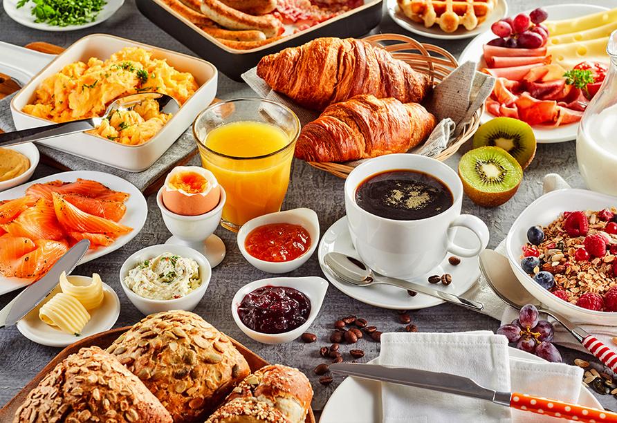 Reichhaltiges und buntes Frühstücksangebot.