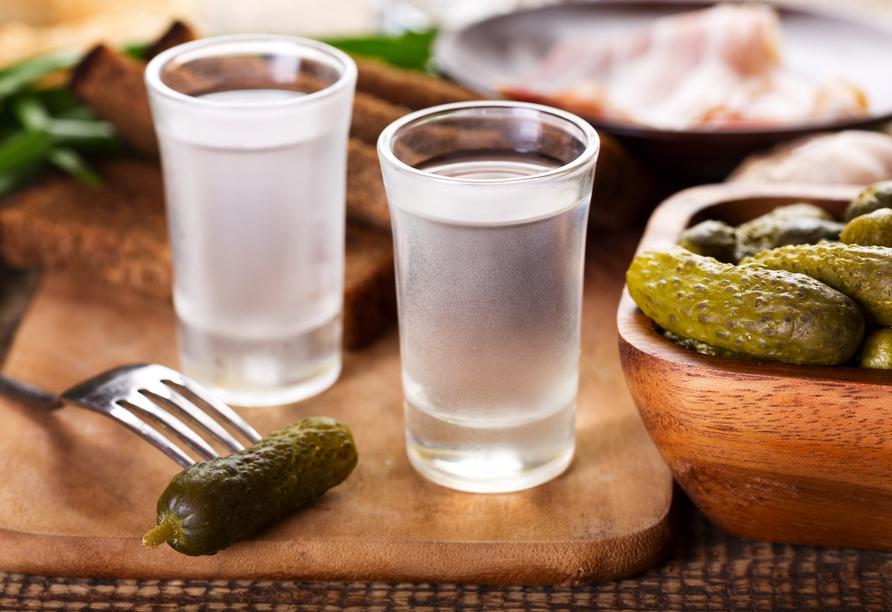 MS Aleksandra, Vodka und Sakuska