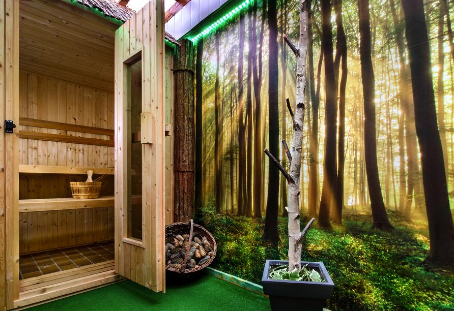 Im Gegensatz zur Birken-Sauna, ist die Tannenzapfen-Sauna eine Light-Variante mit ca. 55°C.