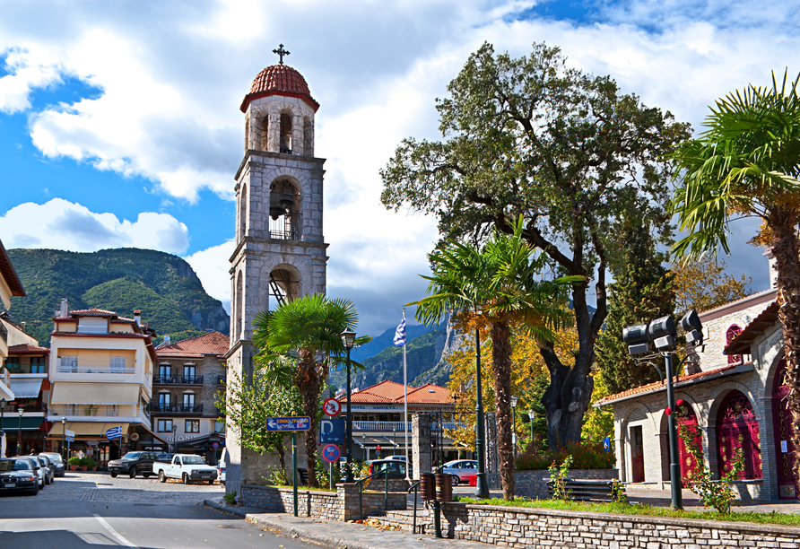 Erkunden Sie die Kleinstadt Litochoro.