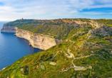 Die beeindruckenden Dingli Klippen erwarten Sie an der Südküste Maltas.