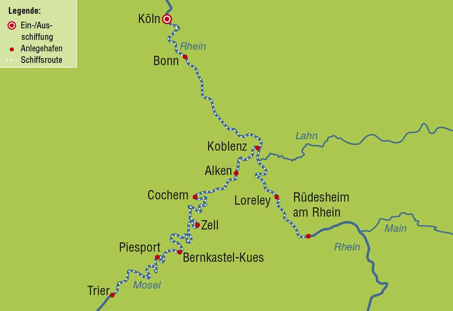 Ihr Reiseverlauf an Rhein und Mosel.