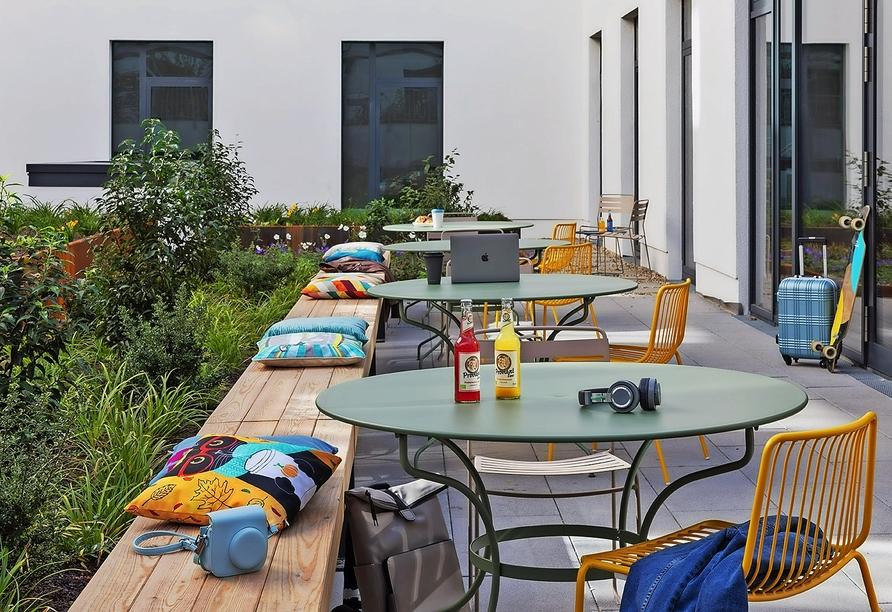Hotel Moxy Hamburg City, Terrasse