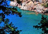 Traumhafte Bucht in der Nähe vom Beispielhotel Kalamitsi.