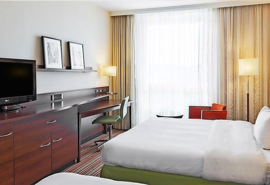 Beispiel eines Doppelzimmers mit getrennten Betten im Courtyard Hotel by Marriott Basel