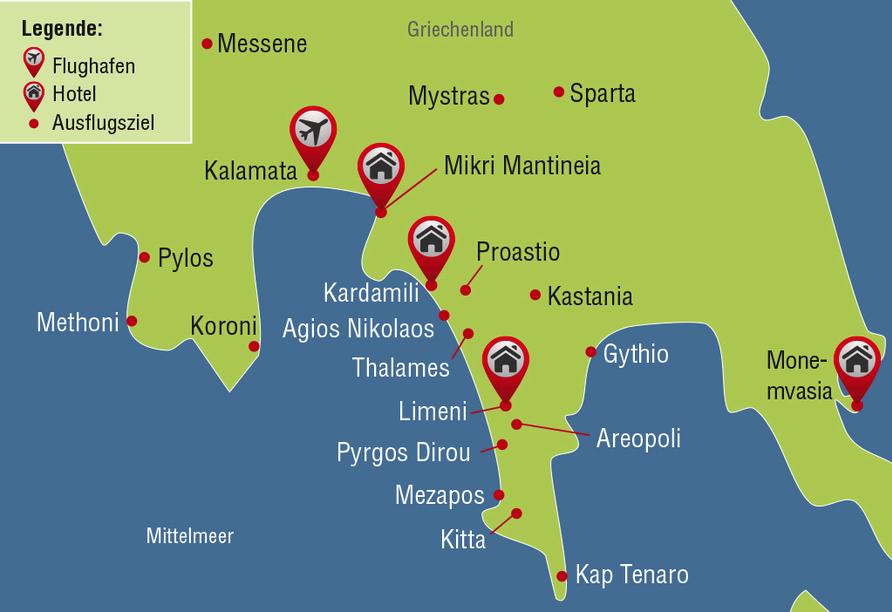 Reisezielkarte für Mietwagen-Rundreise auf Peloponnes.