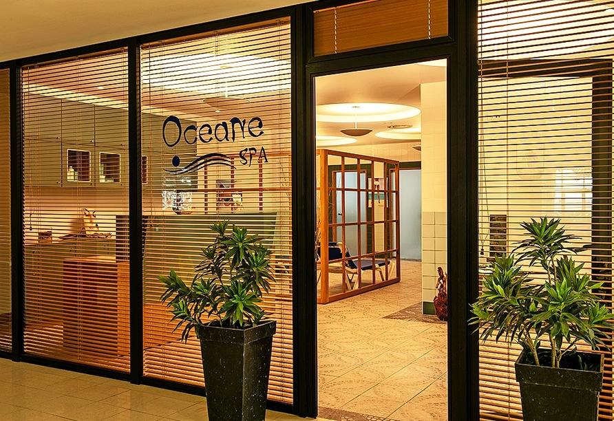 Der Wellnessbereich des Hotels empfängt Sie mit Massagen und Wellnessanwendungen.