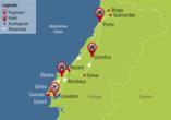 Reisezielkarte für Ihre Rundreise im Norden Portugals.