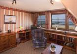 Beispiel für ein Doppelzimmer mit Blick auf den Strand.