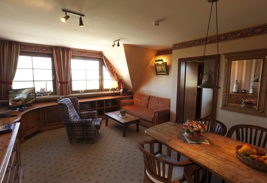 Beispiel für den Wohn- und Essbereich im Doppelzimmer