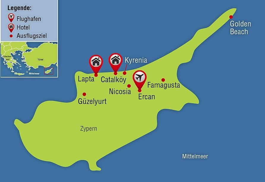 Entdeckerreise durch Nordzypern, Reisezielkarte