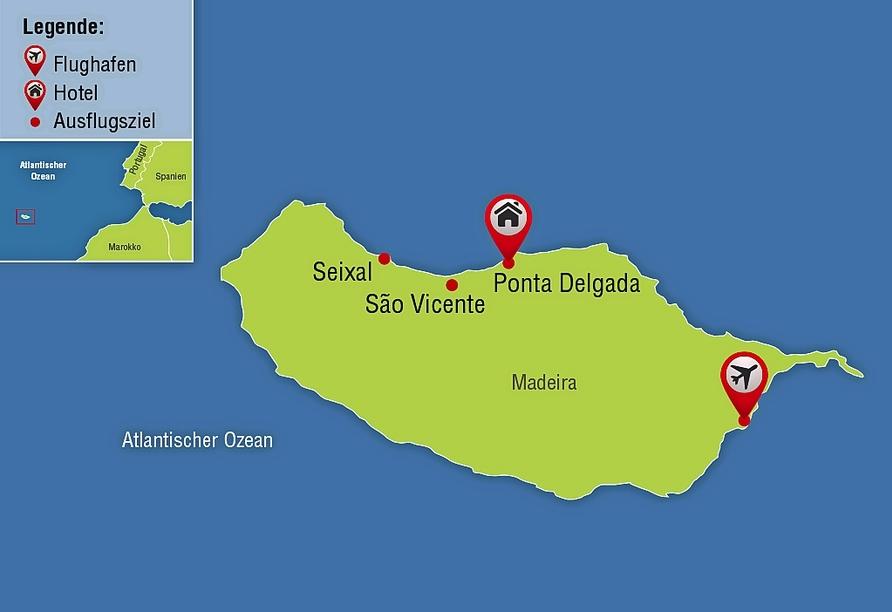 Hotel Monte Mar Palace in Ponta Delgada São Vicente, Reisezielkarte