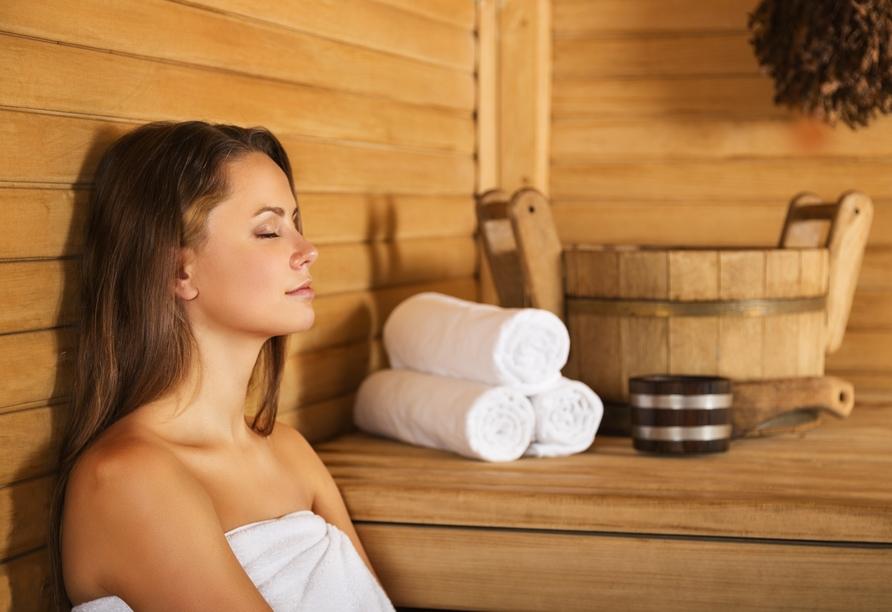 In der Sauna finden Sie wohltuende Erholung.