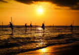 Für solche Bilder ist die Südküste Sri Lankas weltberühmt. Es zeigt Stelzenfischer, die zwischen Koggala und Weligama nach alter Tradition auf den