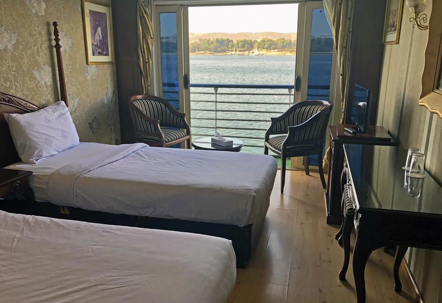 Nil Highlights & Badurlaub in Hurghada, Beispielkabine Haupt/Nildeck Beispiel Schiff