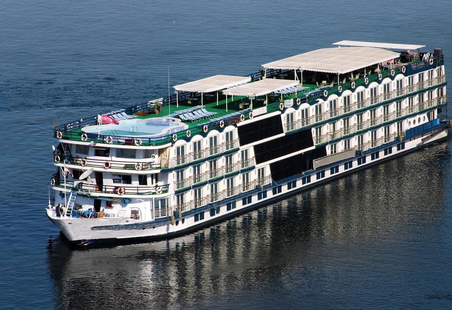 Nil Highlights & Badurlaub in Hurghada, Außenansicht Beispiel Schiff