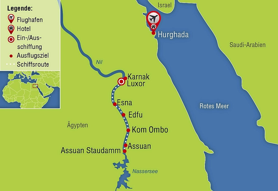 Nil Highlights & Badurlaub in Hurghada, Reisezielkarte