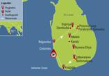 Reisezielkarte für Privatrundreise auf Sri Lanka.