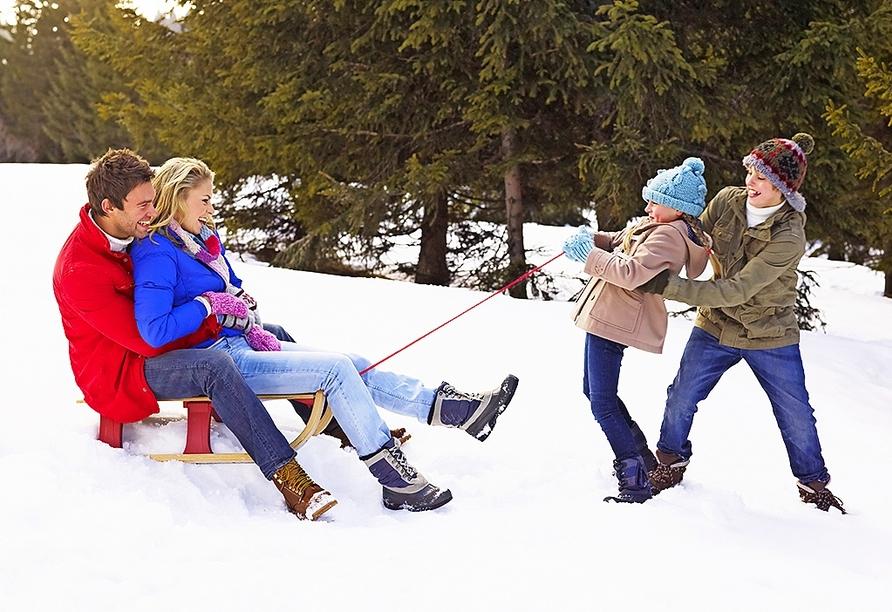 Das nahgelegene Skigebiet bietet Spaß für die ganze Familie.