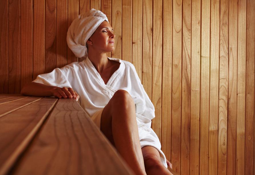 Wohltuende Erholung bietet die Sauna.